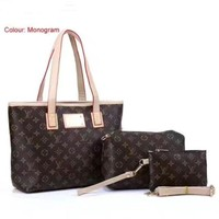 Lv Women Shopping Leather Tote Handbag Shoulder Bag Shoulder Bag Wallet Purse A Three Piece
