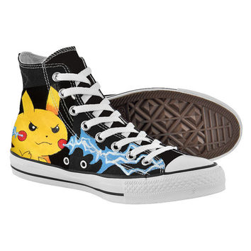 Pikachu on Black Converse for Pokemon Fandom,High Top,canvas shoes,Painted Shoes,Special Christmas Gift,Birthday gift,Men Shoes,Women Shoes