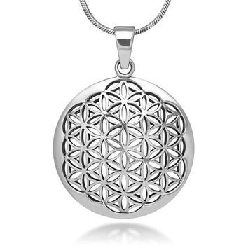 Flower of Life Necklace Silver Sacred Geometry Pendant