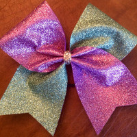 Cheer Bow - Teal and Purple Glitter