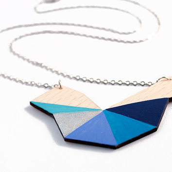 Geometric polygon wooden necklace - navy blue, dark blue, turquoise, silver, natural wood - minimalist, modern jewelry - color blocking