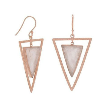 Rough Cut Rose Quartz Open Triangle Earrings in 14 Karat Rose Gold Plated Sterling Silver