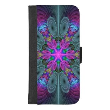 Mandala From Center Colorful Fractal Art With Pink iPhone 8/7 Plus Wallet Case