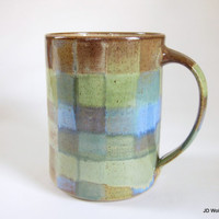 plaid coffee cup - 20 oz blue brown green checkered small coffee mug pottery ceramic