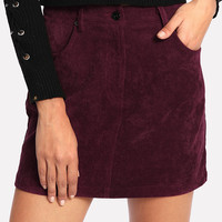 Zip Fly Cord Skirt -SheIn(Sheinside)
