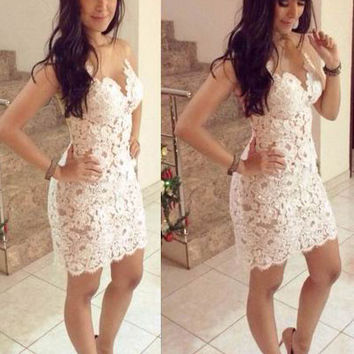White Strapless Crochet Bodycon Mini Dress