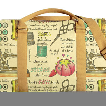 Pattern of Sewing Kit Printed Oversized Canvas Duffle Luggage Travel Bag WAS_42