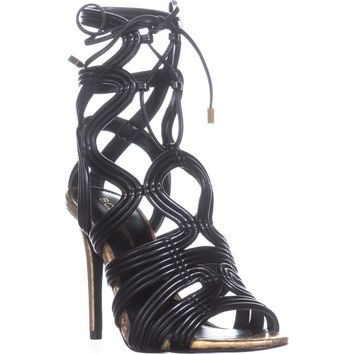 BCBGeneration Jax Heeled Sandals, Metallic Nappa Carbone, 6.5 US / 36.5 EU