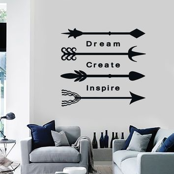 Vinyl Wall Decal Arrows Ethnic Art Decor Inspire Words Lettering Stickers Mural (ig5423)