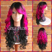 ON SALE // Long Curly/Wavy Full Wig, Ombre Hot Pink Bombshell Wig, Side Swoop Bangs // SPRING (Free Shipping)