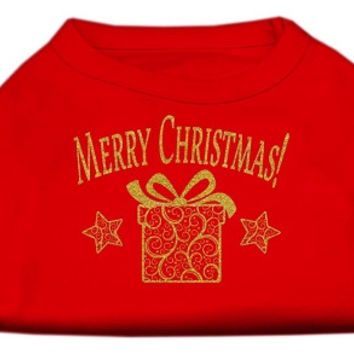 Golden Christmas Present Dog Shirt Red Sm (10)