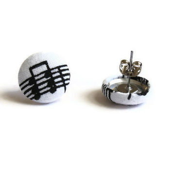 Sheet Music Notes Fabric Covered Button Earrings