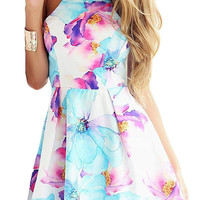 Halter Neck Floral Slim Flare Dress