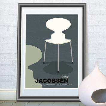 Scandinavian design, Mid century modern art print, Arne Jacobsen chair, Retro poster, Wall art