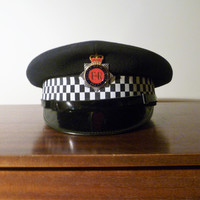 Vintage 1990s Issued Greater Manchester Police Hat / Cap with Metal Cap Badge in Great Condition / Collectible Police Memorabilia
