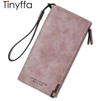 Tinyffa Nubuck Lady Leather Wallet Women Wallet Female Purse Coin Purse Credit Card Holder Women Clutch Phone Pocket Walet Long