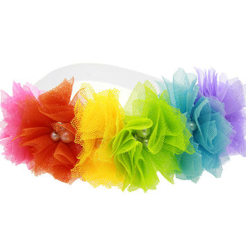 Baby Kids Girl Flowers Headband Lace Pearl Hairband Elastic Turban Rainbow Hair Accessories Headdress Headwear Tiara