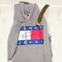 TOMMY HILFIGER  THREE COLOR  HOODIE FASHION WOMEN MEN SWEATER