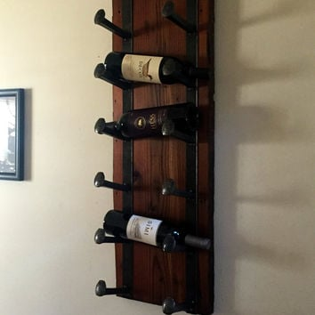 Railroad Spike Wine Rack with Old Growth Illinois Reclaimed Barn Wood