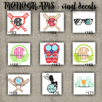 MONOGRAM vinyl decals | name | initial | decal | sticker | car decals | car stickers | laptop sticker - 163-171