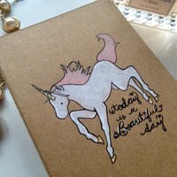 Beautiful Day Unicorn Moleskine Pocket Notebook by cupofjuice