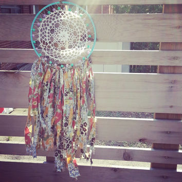 "Picnic 12"" Dream Catcher, Turquoise and Mauve, Gift for Mom, Gift for her, gift for baby, bohemian bedroom decor ideas, Home and Living"