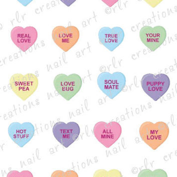 20 Nail Decals Valentine CONVERSATION CANDY HEARTS Water Slide Nail Art Decals