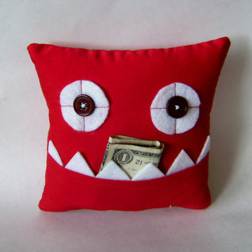 Red Tooth Fairy Pillow or Gift Card and Money Holder by meggiebabe