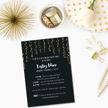 Printable black and gold bachelorette invitation/ gold bokeh invitation/ black and gold glitter invite/ hen party invitation/ Gatsby party