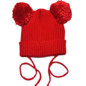 Toddler Double pom pom hat Knit baby toddler kids knit hats Girls hat with pom toque beanie Mouse Ear Pom Hat 1pc H005
