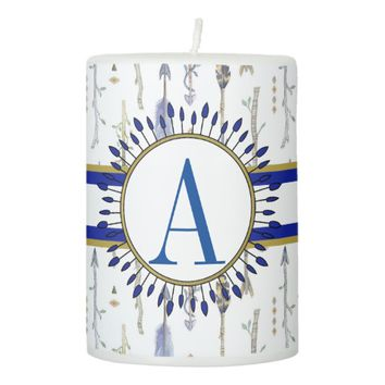 Boho Chic Tribal Arrows Monogrammed Pillar Candle
