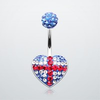 British Flag Tiffany Inspired Multi Gem Belly Button Ring