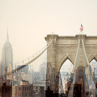 "Manhattan Skyline, New York Print, NYC Art, Brooklyn Bridge, Empire State Building, Pink, NYC Skyline Photograph – ""Dreams of Cities"""