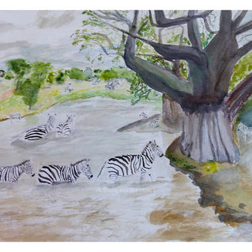 Water Crossing~~ Watercolor Print from an African Safari Travelogue