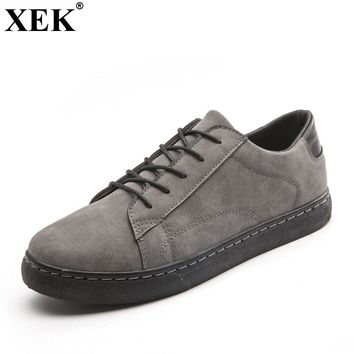 XEK 2018 Minimalist Design Suede Leather Mens Leisure Flat Brand Spring Running Sneakers Walking Outdoor Flat Rubber Shoes JH210