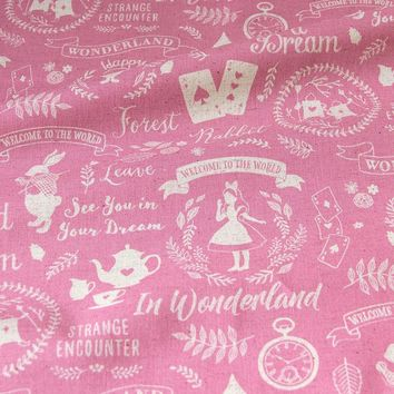 50cm*110cm Japanese KOKKA Cotton Linen Fabric Patchwork Fabric Quilting Cloth  Vintage Alice in Wonderland B
