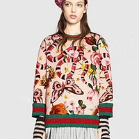 GUCCI HOT SALE Round neck letters printed loose long sleeve sweater beige