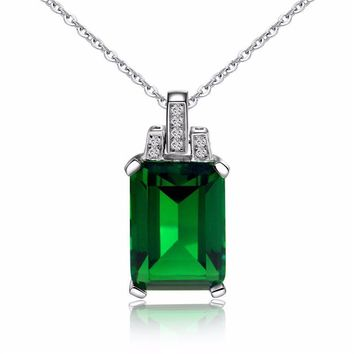 Green Crystal & Cubic Zirconia Emerald-Cut Pendant Necklace