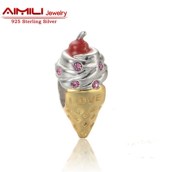 Yellow Golden Ice Cream Bead Sterling Silver Food Charm Fit Bracelet Bangle Beads & Diy Jewelery Making  E022