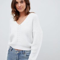 ASOS DESIGN v neck jumper in moving rib at asos.com