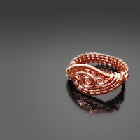 Wire wrapped ring, wire weave copper ring, spiral ring, size 9 ring, handmade ring, wire wrapped jewelry for women