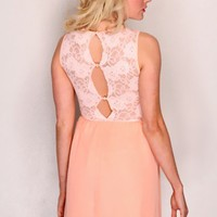 Peach Crochet Sheer Sleeveless Scoop Neck Sexy Party Dress