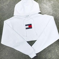 '' Tommy Hilfiger '' Casual Long Sleeve Crop Top Sweater Pullover