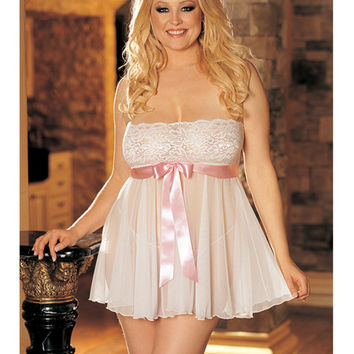 Sheer Strapless Babydoll