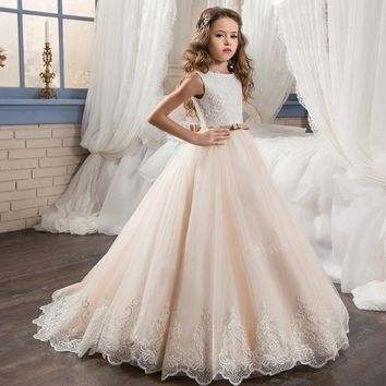 Fancy Champagne Flower Girl Dress with Beige Ribbon Bow Crew Neck Mesh Ball Gowns Kids Holy Communion Dress 2-14