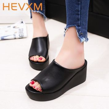 Woman Summer Thick Bottom Slippers Women Fashion Casual Fish Mouth Sandals Non-Slip Le
