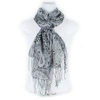 Silly Yogi grey floral/paisely scarf-Grey-One size