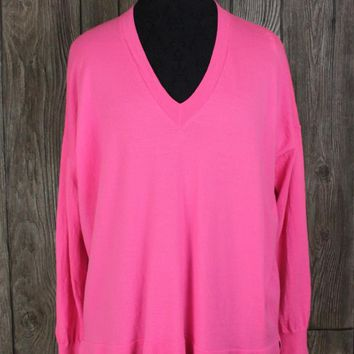 J Crew M L size Bright Pink Sweater Vneck Oversized Boyfriend Lightweight Top