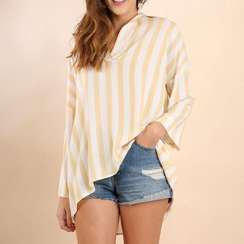 Striped Collared Tunic - Honey
