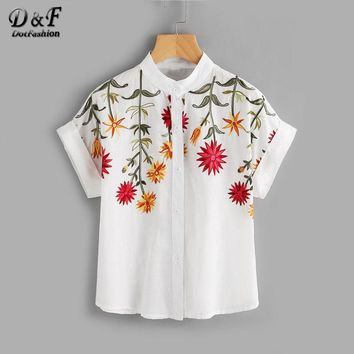 Floral Embroidered Roll-up Cuff Blouse Summer Band Collar Cap Sleeve Tops